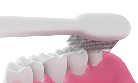 scuff: 3D Toothbrush cleaning teeth in mouth,isolated
