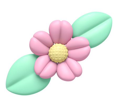 clay modeling: 3D Pink flower and leaf Plasticine modeling clay, object isolated