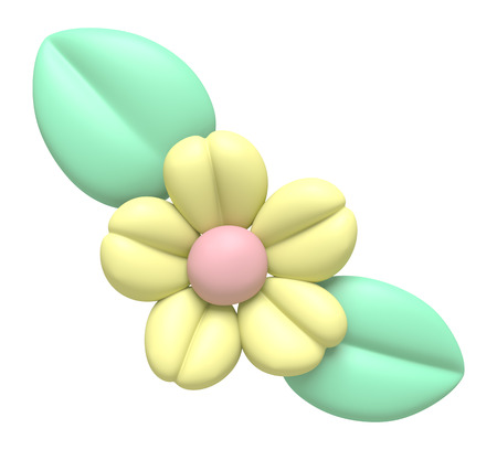 clay modeling: 3D Yellow flower and leaf Plasticine modeling clay, object isolated
