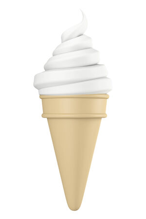 front view: 3D Spiral Ice Cream with Cone, object front view isolated Stock Photo