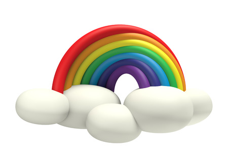 3D Rainbow with cloud pastel color Plasticine modeling clay, object front view isolated
