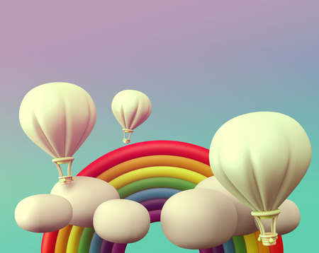 clay modeling: 3D balloon with rainbow and cloud on sky, vintage scene style