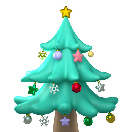 clay modeling: 3D christmas tree Plasticine modeling clay, front view isolated Stock Photo