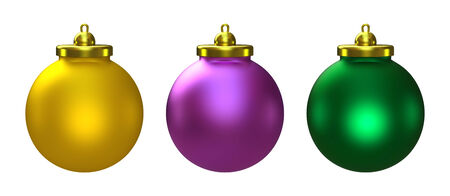 three object: 3D Christmas balls set of three, object isolated
