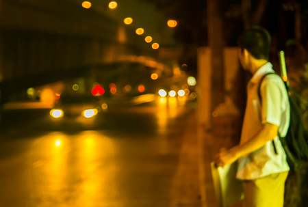 bus station: Abstract Bokeh color light of traffic car on road Stock Photo