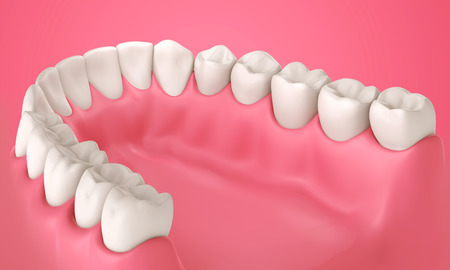 mouth pain: 3D teeth or tooth illustration, inside view in mouth Stock Photo