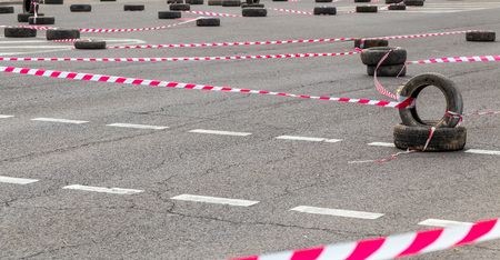 fenced track on an asphalt road for biker competitions. Reklamní fotografie