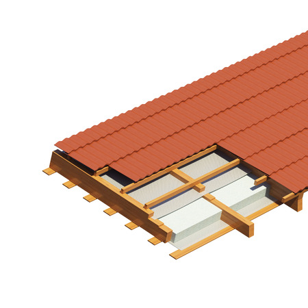 detailed fragment of a roof of the house on a white background. a heater and a waterproofing in roof beams. 3D illustration.