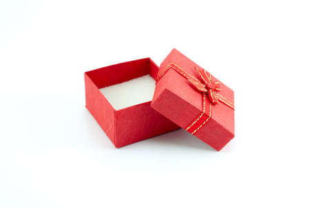 open gift box with red colour on white background photo
