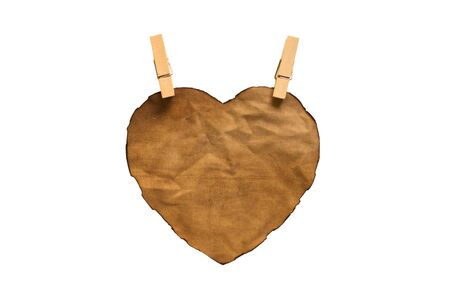 isolated heart-shaped cloth on white background photo