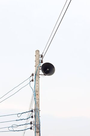 black loudspeaker and light pole Stock Photo - 13187656
