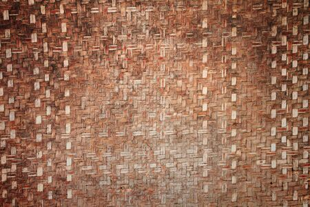 Thai handicraft of bamboo weave pattern used for background photo