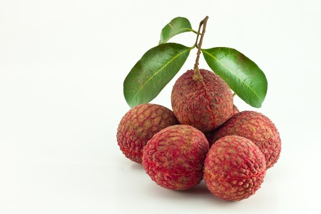 litschi: Fresh lychees isolated on white background Stock Photo