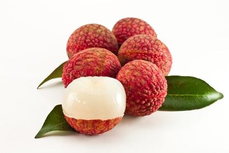 lichi: Fresh lychees isolated on white background Stock Photo