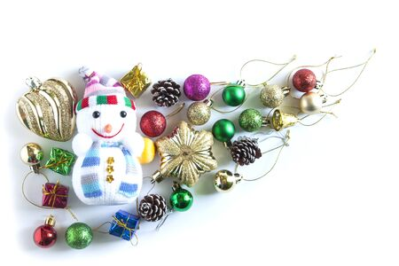 Christmas Decoration. Holiday Decoration on White Background. Top View
