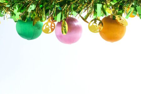 Christmas Ball Decoration. Holiday Decoration on White Background. space for text your Stock Photo