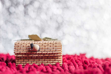 red carpet background: Christmas concept. Gift box bamboo on bokeh background. With space for text your Stock Photo
