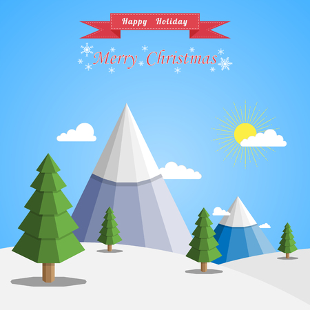 Merry Christmas Landscape, Happy holiday vector flat background Ilustrace