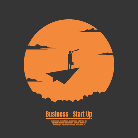 Silhouette Businessman on paper plane with the sun background, Vector illustration concept of business start up
