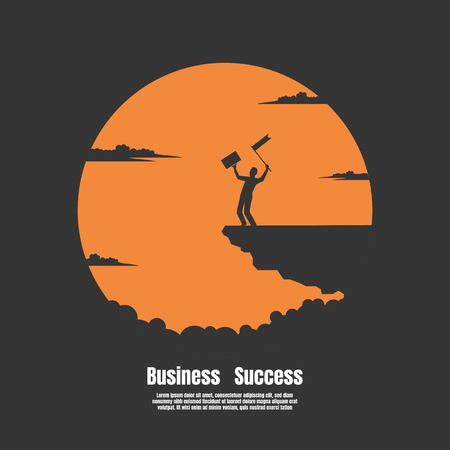 Silhouette Happy Businessman on mountain cliff with the sun background, Vector illustration concept of business success