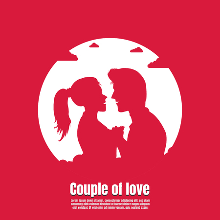 Silhouette Love couple, Vector illustration concept of valentines