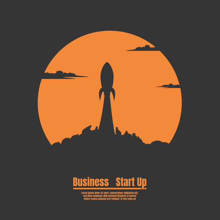 Silhouette Rocket launch, Vector illustration concept of business start up