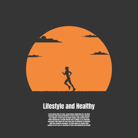 Silhouette woman running exercising the outdoors park with the sun background  イラスト・ベクター素材