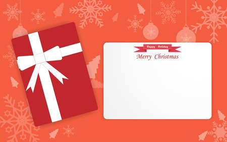 Christmas card with red gift box, Color pantone background, Vector illustration flat Ilustrace