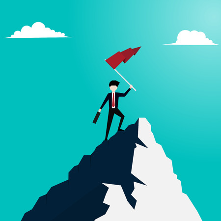 Concept of business financial success. Businessman holds flag stand on top of mountain celebrating success. Vector illustration flat