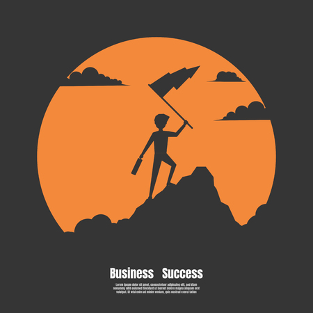 Silhouette businessman of success, Concept of business financial success. Businessman holds flag stand on top of mountain celebrating success. Vector illustration flat