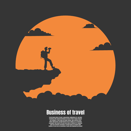 Silhouette travel man of vision, Concept of vision. Travel man holds flag stand on top of mountain cliff Vector illustration flat