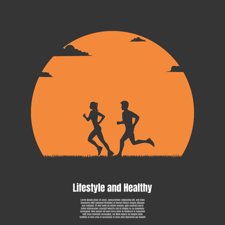 Silhouette man and woman running exercising the outdoors park with the sun background, Healthy concept, Illustration vector flat