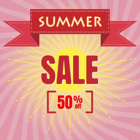 Summer Sale banner, Vintage design, Vector illustration flat Ilustrace