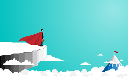Business superhero concept. Businessman stand on top of the cliff look at to the success. Symbol of business leadership. success and vision. Eps10 vector illustration flat