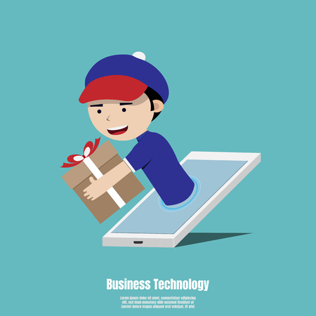 Concept for fast online delivery service. Delivery man holding a gift box out of smartphone screen. Vector illustration flat