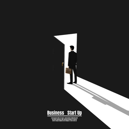 Businessman standing in gate as symbol of business opportunities, Business startup, Vision and future, Illustration vector flat