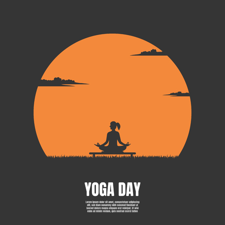 Silhouette of woman on the background of the sunset, Yoga, Fitness and healthy lifestyle, Illustration vector flat Ilustrace