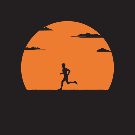 Silhouette a man running exercising in the outdoors park with the sun background, Healthy concept, Illustration vector flat