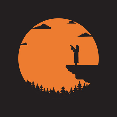 Silhouette pastor standing on cliff with the sun background, Religion concept, Vector illustration flat Illustration
