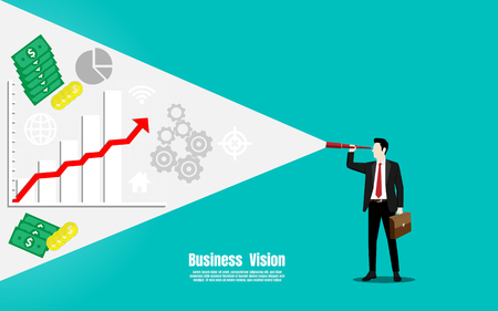Business and finance vision concept, Businessman looking through binoculars, Vector illustration flat
