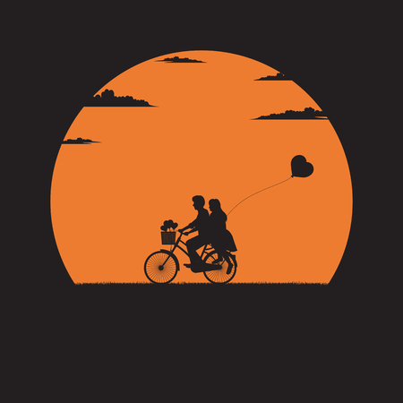 Silhouette of Love and Valentine day, Lovers on the bike and a heart shape balloon, Illustration vector flat Ilustrace