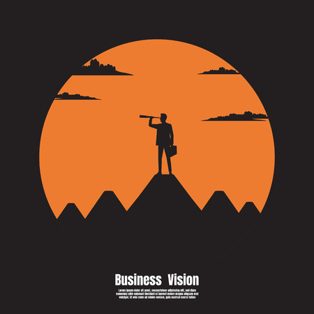 Telescope look to the success, Silhouette of businessman Vision standing on top mountain, Concept business, Illustration vector flat Ilustrace