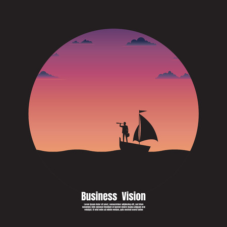 Silhouette business. Business vision concept. Businessman holding telescope standing on sailboat looking go to the success. Vector illustration flat Ilustrace