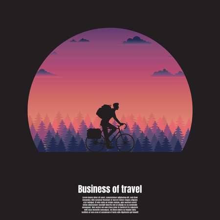 Silhouette travel of a cyclist man, Business travel concept, Tourism vector illustration flat Illustration