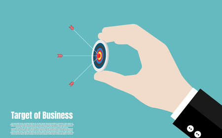Hand of businessman hold target with arrow, Target marketing setting, Business target concept, Achievement and success, Illustration vector flat Vecteurs