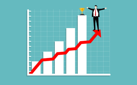 Business man raise arm standing on growth chart and gold trophy, Successful business concept, Illustration vector flat Ilustrace