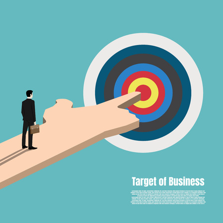 Business target market concept. Standing businessman looking at the success target symbol. Hand business man pointing to the target. Achievement goal. Illustration vector flat