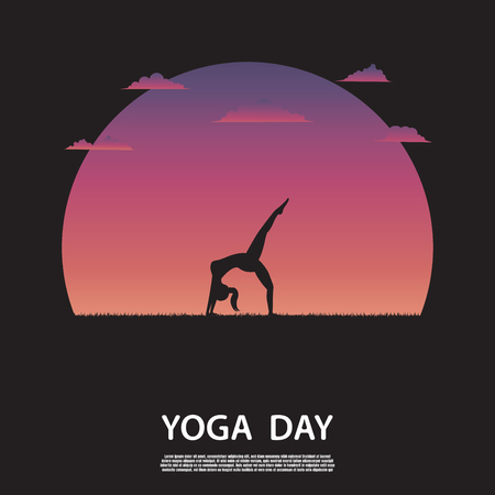Silhouette of yoga woman on nature with beautiful sunset background. Sports for health. Health care concept. Illustration vector
