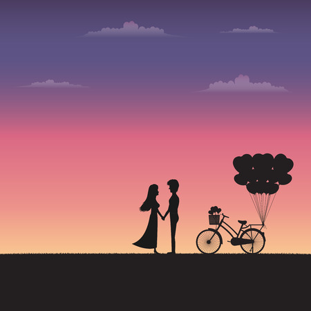 Silhouette couple holding hand and standing together on meadow under sunset sky background. Valentine vector concept.