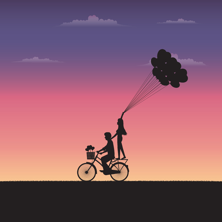 Happy couple riding bicycles on Valentines Day. Silhouette couple of love concept. Illustration vector flat Ilustrace